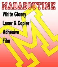 White Glossy Vinyl Laser & Copier Adhesive Sticker Film 5 A4 Sheets